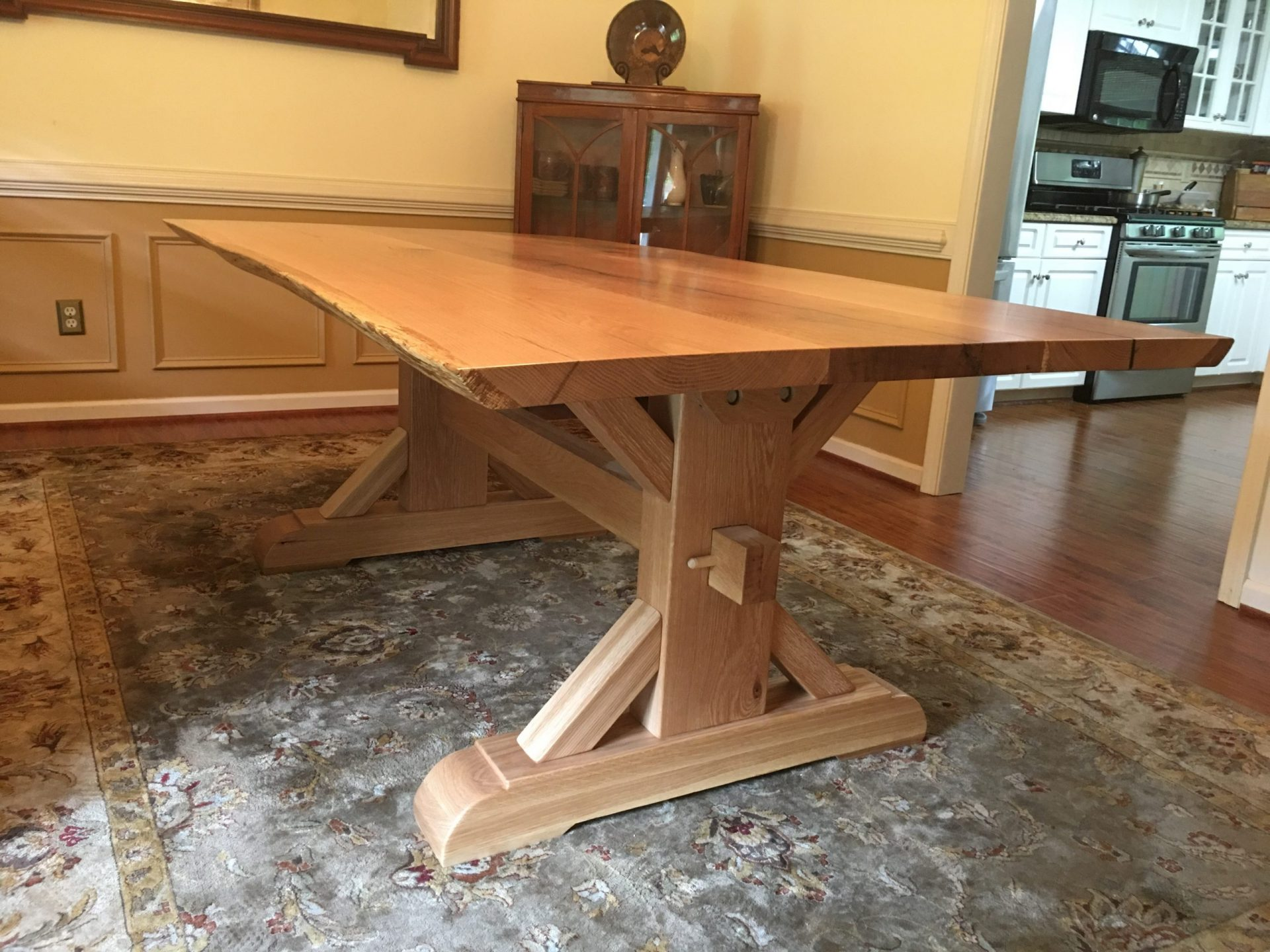 White Oak Live Edge Table With A Jameson Trestle Base