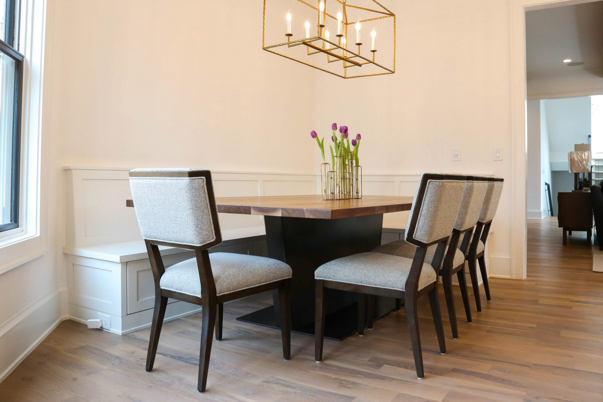 custom contemporary table with chairs in kitchen