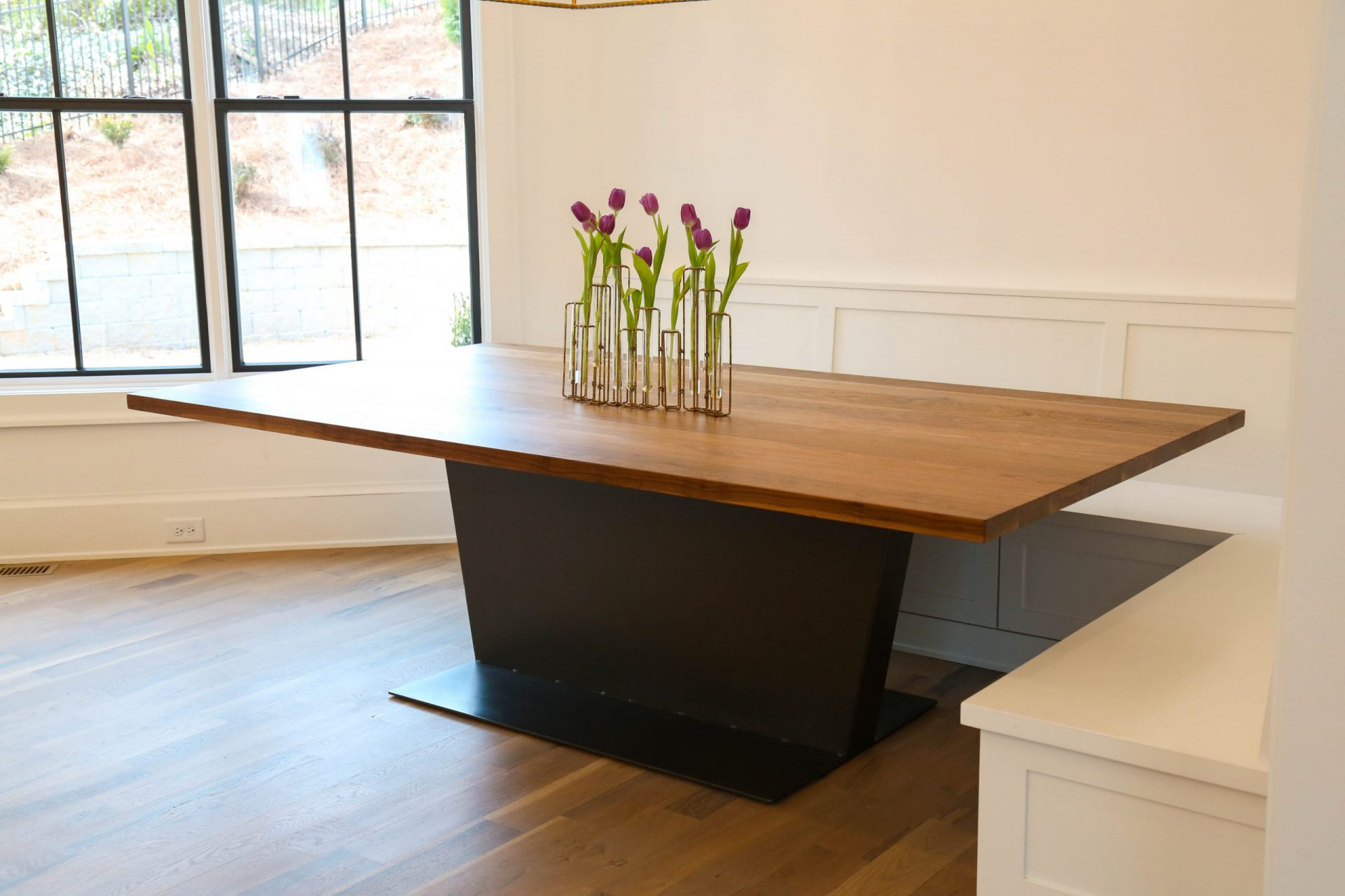 side view of custom contemporary table in kitchen