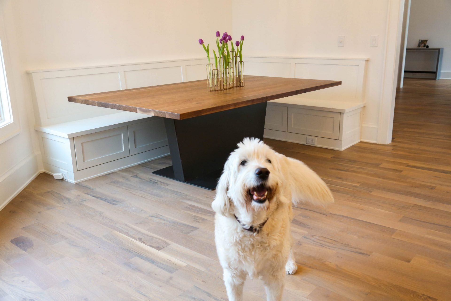custom contemporary table in kitchen with dog