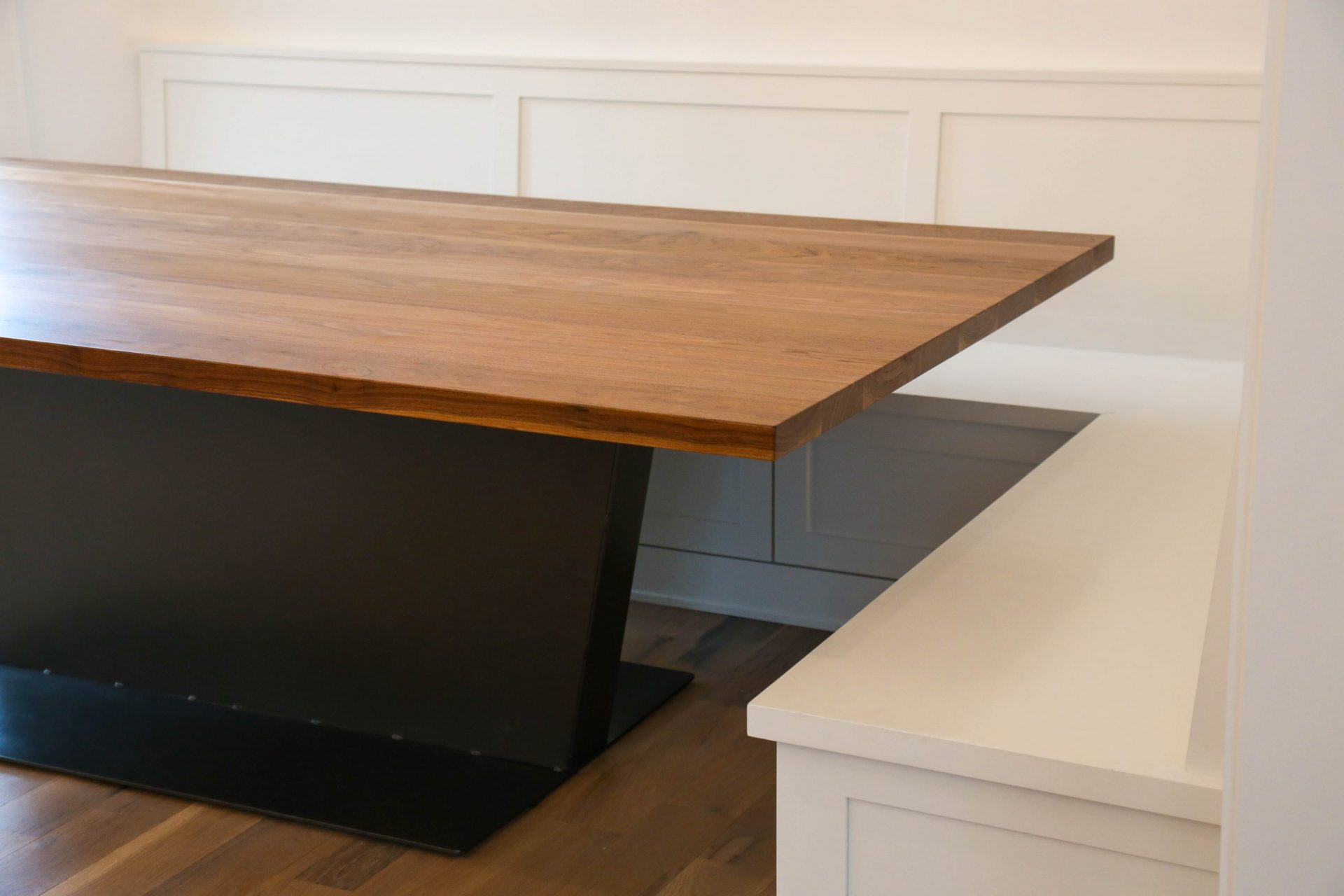 side angle of custom contemporary table in kitchen