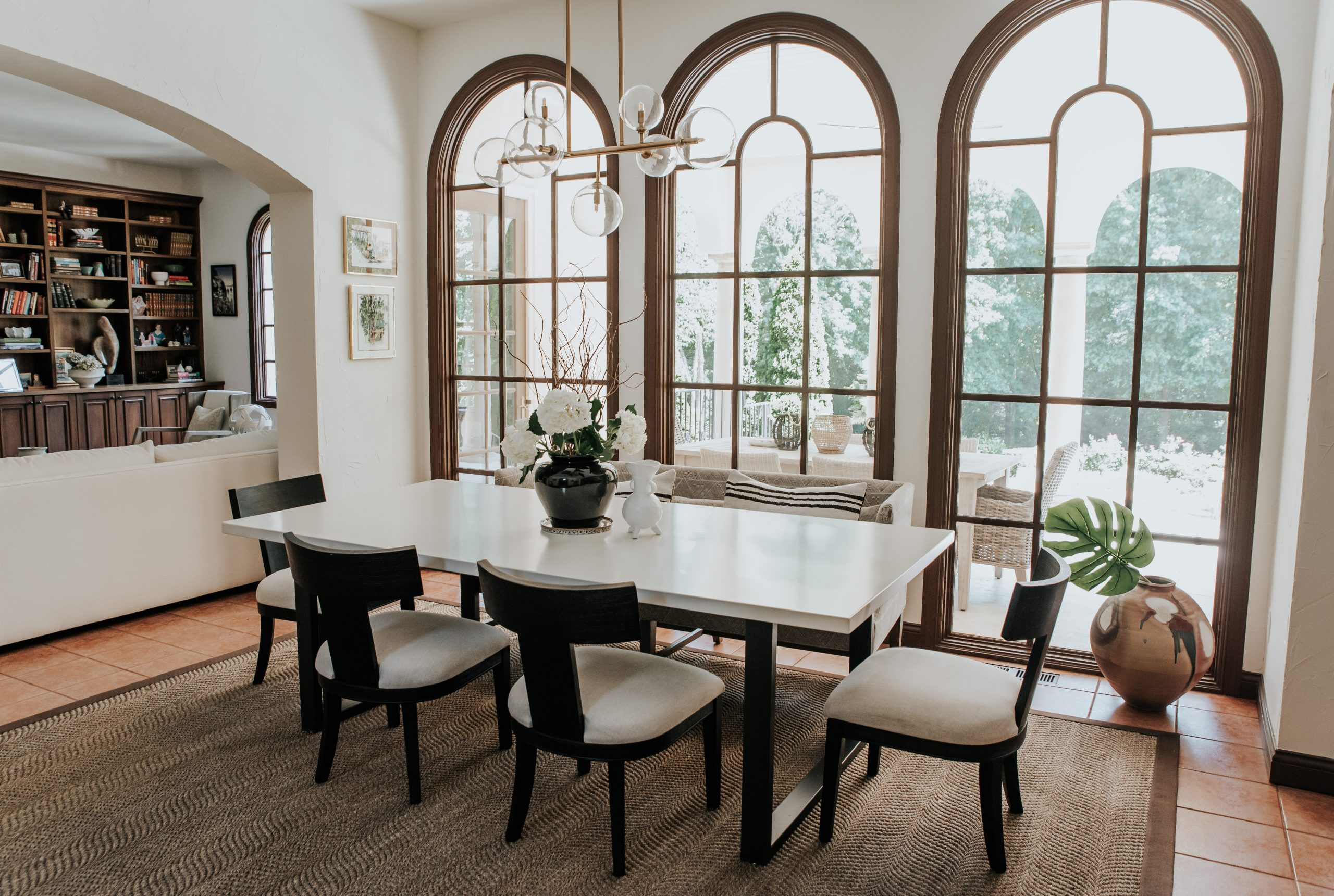 side view of the braylon square table and dining room